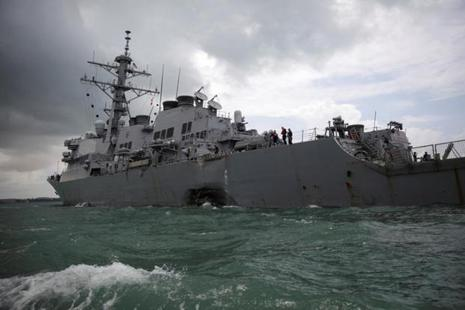 The US Navy guided-missile destroyer USS John S. McCain is seen after a collision, in Singapore waters on 21 August 2017. Photo: Reuters