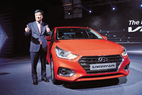 Hyundai Motor India CEO Y.K. Koo at the launch of the Hyundai Verna in Delhi on Tuesday. The mid-sized sedan will lead a segment which already has the likes of Maruti Suzuki Ciaz and Honda City. Photo: Pradeep Gaur/Mint
