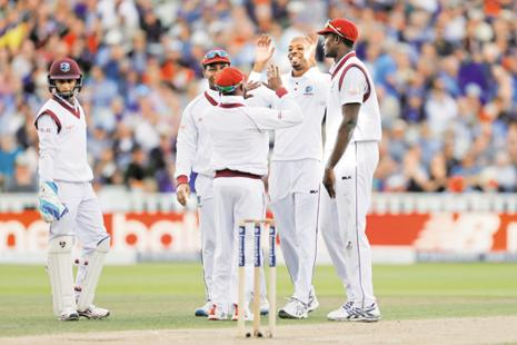 A rare moment of joy for West Indies' players in England. Photo: Reuters