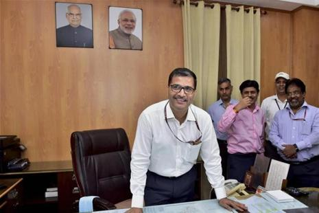 Former Air India CMD Ashwani Lohani taking charge as chairman of the Railway Board, at Rail Bhavan in New Delhi on Thursday. Photo: PTI