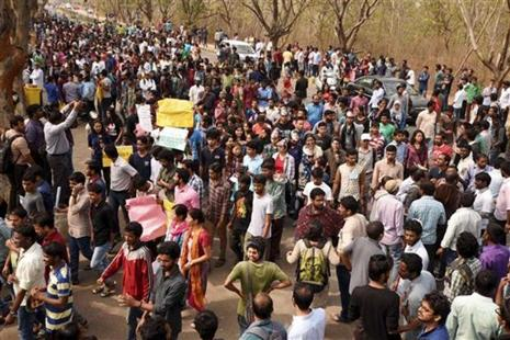 Protestors at the University of Hyderabad will burn copies of the Roopanwal Commission report as a mark of protest on Thursday evening. Photo: PTI