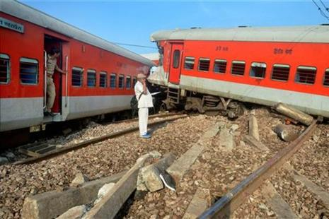 Derailed coaches of Delhi-bound Kaifiyat Express train after it collided with a dumper near Achhalda in Auraiya district in wee hours of Wednesday. Photo: PTI