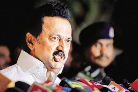 DMK working president M.K. Stalin addresses party MLAs in Chennai on Tuesday, a day before HC hearing on the party's plea on trust vote. Photo: PTI