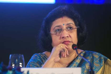 State Bank of India (SBI) chairman Arundhati Bhattacharya. The bank plans to hire a merchant banker to assist in the non-core asset sale process. Photo: Indranil Bhoumik/Mint