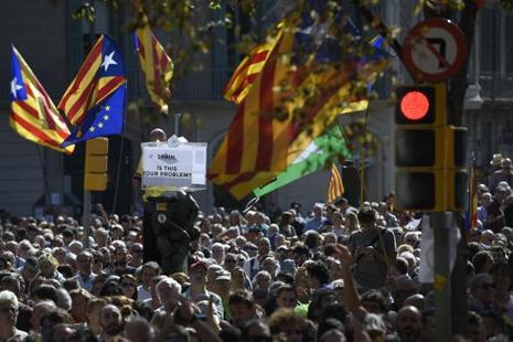 Tensions have spiked in Catalonia as regional leaders press ahead with preparations for the 1 October referendum, despite Madrid's ban and a court ruling deeming it unconstitutional. Photo: AFP
