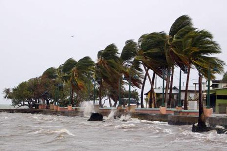 Winds lash the coastal city of Fajardo as Hurricane Maria approaches Puerto Rico on Tuesday. Photo: AFP