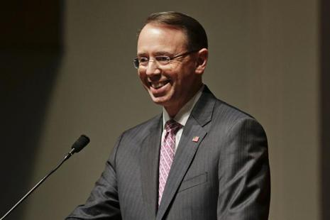 A file photo of US deputy attorney general Rod Rosenstein. Photo: AP