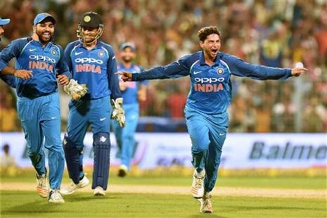 Kuldeep Yadav after his hat-trick against Australia during 2nd ODI cricket match at Eden Garden in Kolkata on Thursday. Photo: PTI