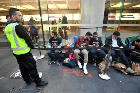Apple customers camp outside of Sydney's flagship Apple store on the first day the iPhone 8 went on sale in Sydney on 22 September 2017. Photo: Reuters
