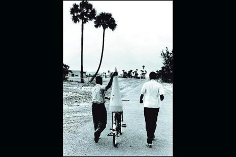 Indian space scientists carrying part of a rocket cone to the Thumba Equatorial Rocket Launching Station in Thiruvananthapuram, 1966. Photo: Courtesy Isro