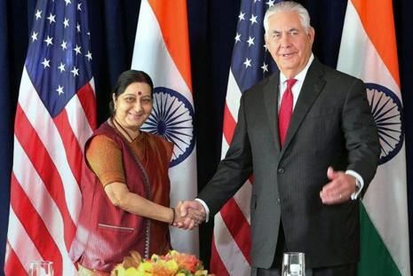 Sushma Swaraj and Rex Tillerson, who met in New York on the sidelines of UN General Assembly session, discussed strengthening of the US-India political and economic partnership. Photo: PTI