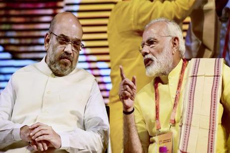 BJP president Amit Shah and PM Narendra Modi at the party's national executive meeting in New Delhi on Monday. Photo: PTI
