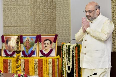 BJP president Amit Shah during the party's national executive meeting in New Delhi on Monday. Photo: PTI