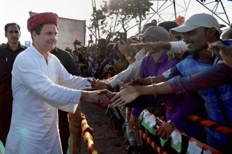 Congress vice president Rahul Gandhi during his visit to Dwarka in Gujarat on Monday. Photo: PTI
