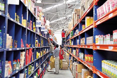 A warehouse of BigBasket in Bengaluru. BigBasket CEO Hari Menon said the company is eyeing 20 million customers by 2020 from the 8 million now. Photo: Mint