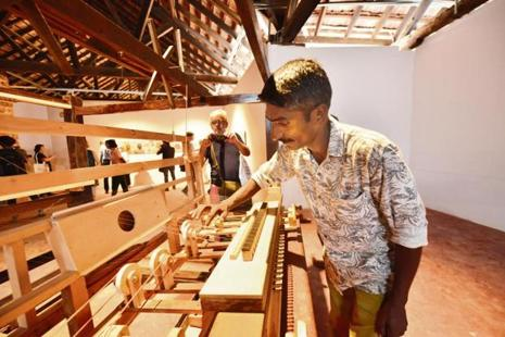 An installation at Fort Kochi's Aspinwall House, which is part of the Kochi Muziris Biennale. Photo: Aniruddha Chowdhury/Mint