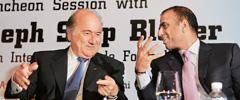 Kickstart: FIFA president Joseph Sepp Blatter with CII vice-president and Bharti Enterprises chairman Sunil Mittal at a press conference in New Delhi on 16 April