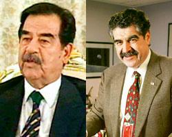 Actor Jerry M. Haleva (right) doubles up as Saddam Hussein (left) for movies like Hot Shots! Part Deux, Mafia and The Big Lebowski