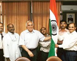 Science and technology minister Kapil Sibal with scientists in New Delhi on Friday, at the launch of the Arctic expedition