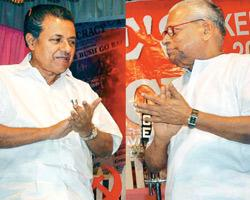 This combination file picture shows CPM Kerala state secretary P. Vijayan (left) and Kerala chief minister V.S. Achuthanandan