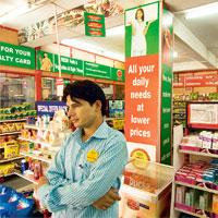 On the job:Retail chain Subhiksha hires the youth and provides themin-house training for a week before deploying them in stores.