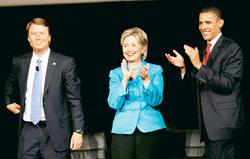 Democratic presidential candidates (left to right) John Edwards, senator Hillary Clinton and senator Barack Obama after they participated in the Yearly Kos Convention's Presidential Leadership Forum i