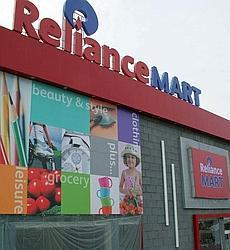 The newly launched Reliance Mart in Ahmedabad. Reliance Retail is targetting a topline of Rs1,000 per sq ft per day from its hypermarkets. AFP photo by Sam Panthaky
