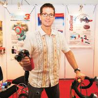 "Innovative Approach: Andrew Crerar displays his ""air-filled"" horn at  the Sports Fitness and Leisure Expo 2007 in New Delhi"