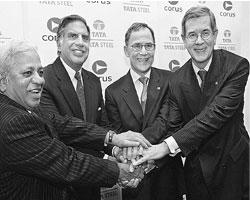 Big deal: Executives of Tata Steel Ltd and Corus Group Plc. after the Indian company bought the Anglo-Dutch steel maker for $12.9 billion. Deals of such large size would now be hard to execute, expert