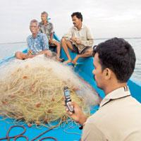 Winds of change: Fishermen will be able to get information on fish concentrations through CDMA handsets. Qualcomm is working on global positioning system capabilities for the phones to make rescue wor
