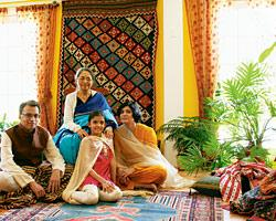 The Pande family (with Vinay's mother) amid its heirlooms