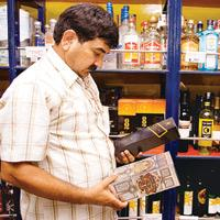 A customer at a liquor shop