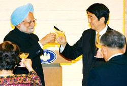 Prime Minister Manmohan Singh with his Japanese counterpart Shinzo Abe (right)  in Tokyo last year