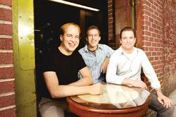 Paul Buchheit (left), Bret Taylor (centre) and Jim Norris