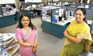 Woman power: Gautami Desai (left) with Swati Kulkarni at the UTI office in Mumbai.