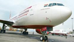 A file picture of Air India's Boeing 777-200 LR at the Chhatrapati Shivaji International Airport in Mumbai. The airline has still not managed to fill even half the capacity on the aircraft in the last