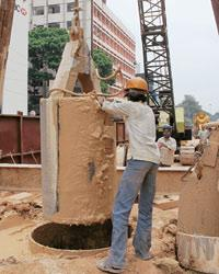Work on the Metro project in Bangalore's MG Road.
