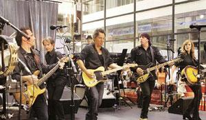 The Boss is on: Bruce Springsteen (third from right) performs at Rockefeller Center.