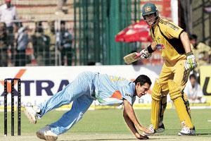 On a roll: A freeze-frame moment during an India-Australia One-day International held in Chandigarh on 8 October.