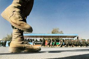 Next step: New Afghan National Army recruits march in Kabul. The US is striving to build a credible Afghan army by 2009.