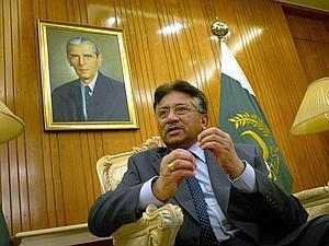 Hard talk: Pakistan President Pervez Musharraf during an interview in Islamabad on Tuesday. He said Pakistan was suffering from a 'disturbed terrorist environment'.