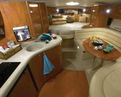 Aboard the air-conditioned Azimut you get white leather and a skylight above the master bed