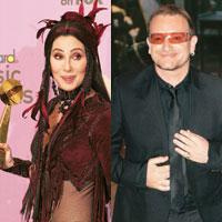 Wash your mouth: Cher (left) and Bono have both had language trouble.