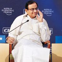 Keeping notes: Chidambaram at the India Economic Summit.