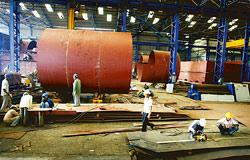 Workers at the ABG Shipyard facility in Surat, Gujarat. After the expansion, the company hopes to build large-size ships, including very large crude carriers at the shipyard