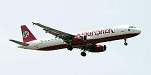 Under pressure: A Kingfisher Airlines aircraft.The accumulated losses for the airline, so far, are about Rs1,200 crore.