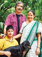 Mike and Ranjana Pandey with daughter Devika and their pet.