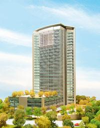 An artist's impression of the Oberoi Commerz coming up in Goregaon. It will house the new office of O&M that will be spread over five floors with about 100,000 sq. ft of work space