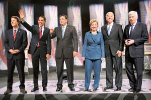 Common sense: Democratic presidential hopefuls (L to R) former senator John Edwards, senator Barack Obama, New Mexico governor Bill Richardson, senator Hillary Clinton, senator Joe Biden, and senator