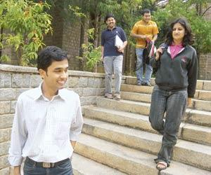 Changing mores: The arrival of more women and older students on campuses such as the Indian Institute of Management Bangalore, pictured here, is changing attitudes towards dating and live-in relations